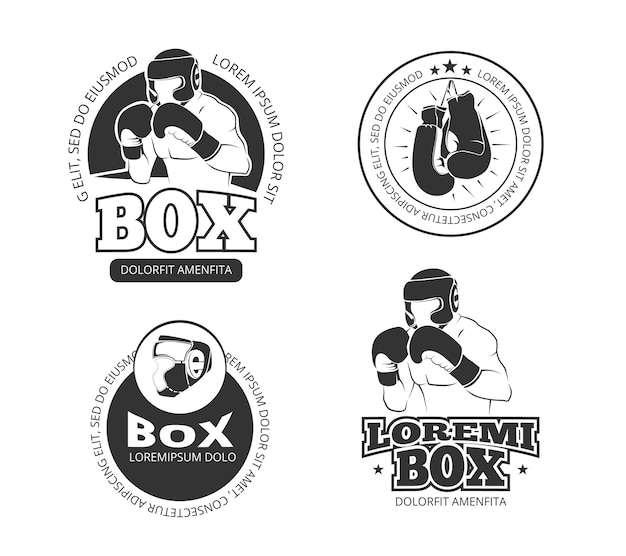 Retro- aufklebersatz des boxvektors eingestellt Premium Vektoren