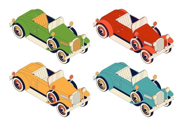 Retro auto cabrio set. grüne und rote, gelbe und blaue weinleseautos lokalisiert auf weißem hintergrund Premium Vektoren