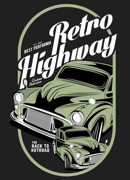 Retro autobahn, super oldtimer illustration Premium Vektoren