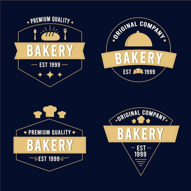 Retro bäckerei logo pack Kostenlosen Vektoren