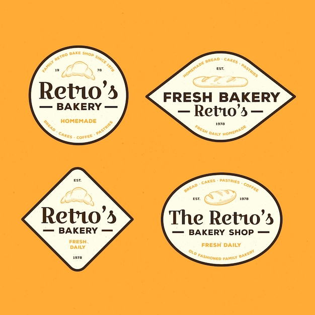 Retro bäckerei logo sammlung konzept Kostenlosen Vektoren