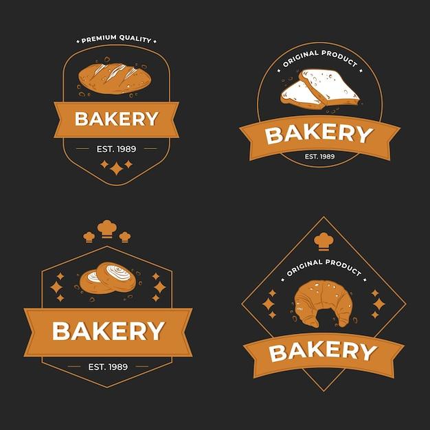 Retro bäckerei logo sammlung Kostenlosen Vektoren