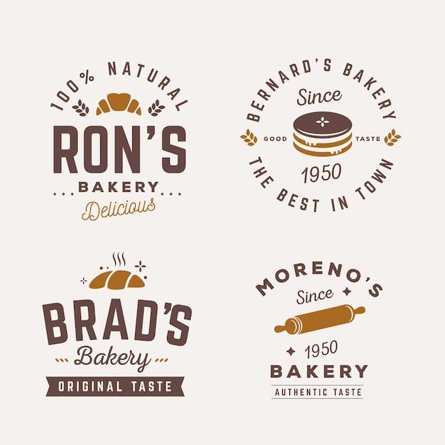 Retro bäckerei logo vorlage sammlung Premium Vektoren