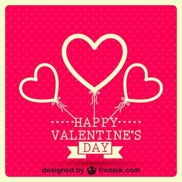 Retro Ballonherzen Valentinstag Karte Design Kostenlose Vektoren