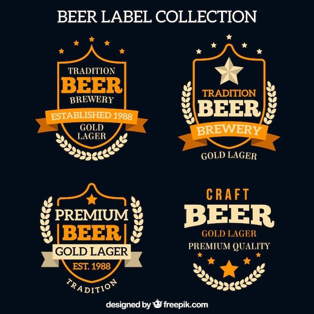 Retro bier etiketten packen Kostenlosen Vektoren
