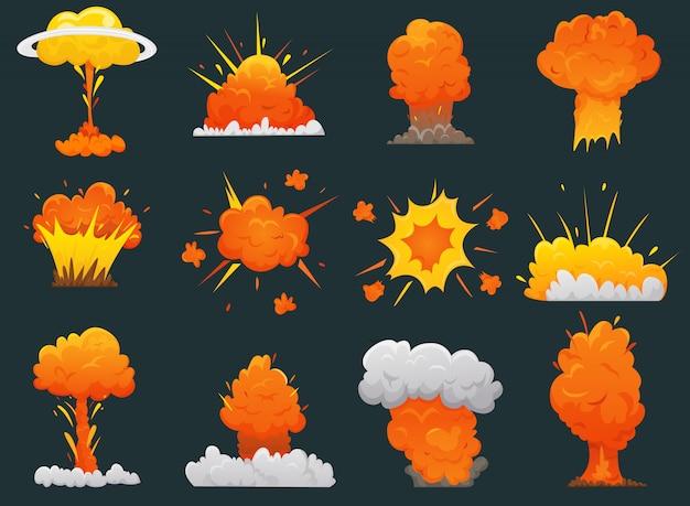 Retro cartoon explosion icon set Kostenlosen Vektoren