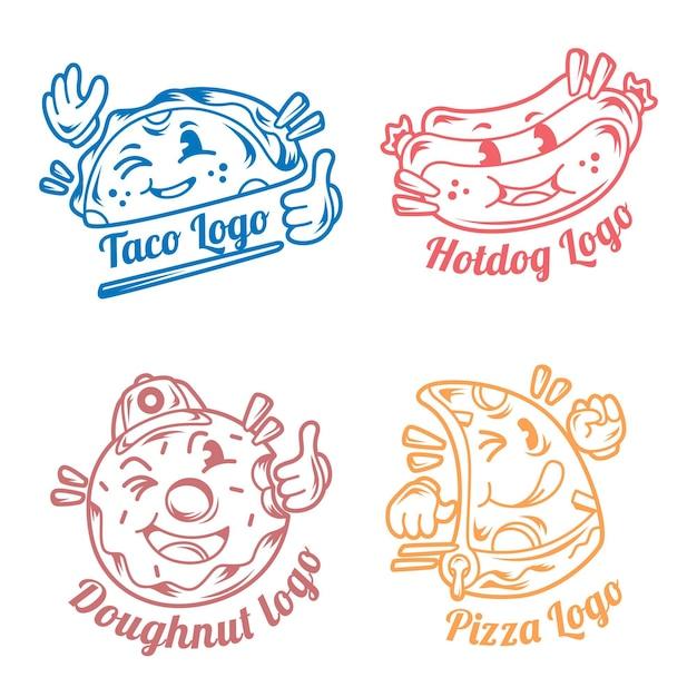 Retro cartoon restaurant logo sammlung Kostenlosen Vektoren