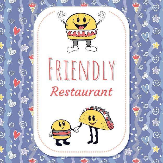Retro- charakterhintergrund des restaurants mit nahtlosem muster Premium Vektoren
