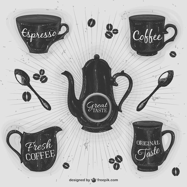 Retro coffee abbildungen Kostenlosen Vektoren