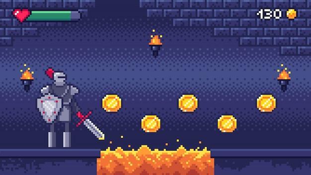 Retro computerspielebene. pixel art videospielszene 8 bit krieger charakter sammelt goldmünzen, pixel gaming illustration Premium Vektoren