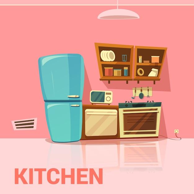 Retro-design der küche mit kühlschrank mikrowelle ofen und herd cartoon Kostenlosen Vektoren