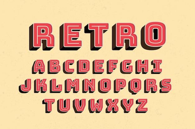Retro- design des alphabetes 3d Kostenlosen Vektoren