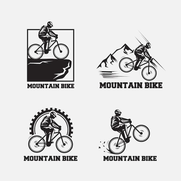 Retro einfaches mountainbike-logo Premium Vektoren