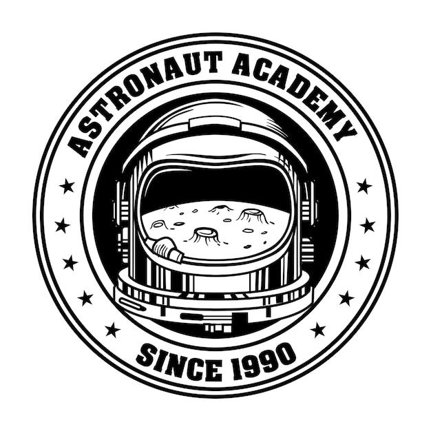 Retro-emblem für vektorillustration der astronautenakademie. vintage mondreflexion im helm Kostenlosen Vektoren