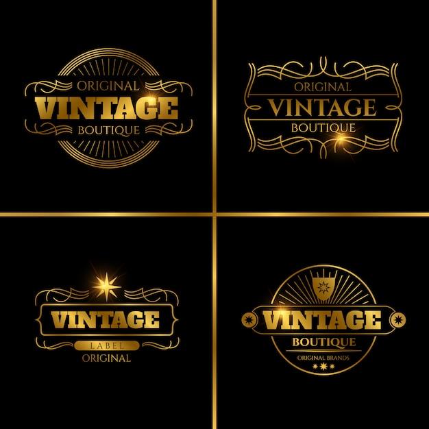 Retro etiketten für vintage-karten Premium Vektoren