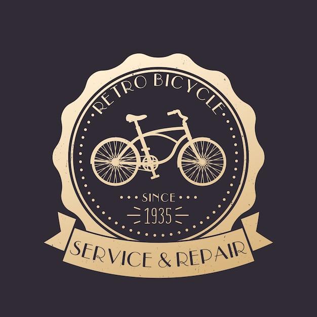 Retro fahrrad service und reparatur vintage logo, emblem mit altem fahrrad, gold über dunkel Premium Vektoren