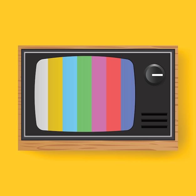 Retro- fernsehen fernsehunterhaltungs-medien-ikonen-illustration Kostenlosen Vektoren