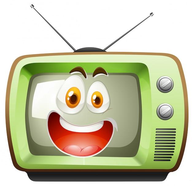 Retro fernsehen mit gesicht Kostenlosen Vektoren