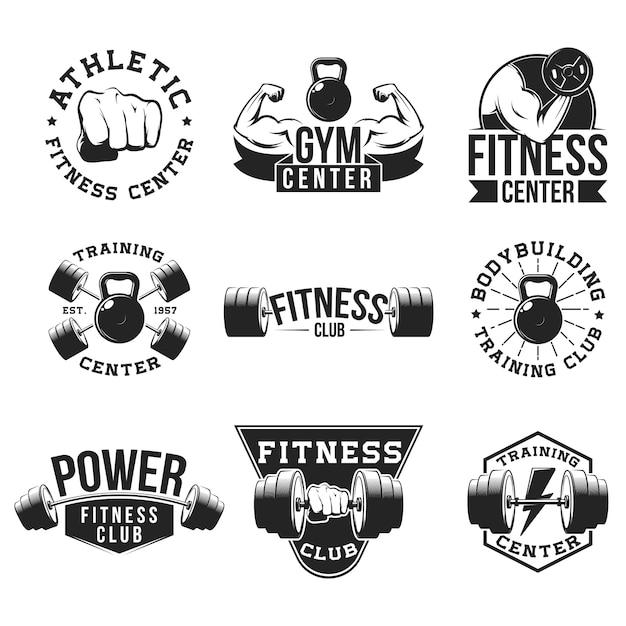 Retro fitnessstudio flache emblem set Kostenlosen Vektoren