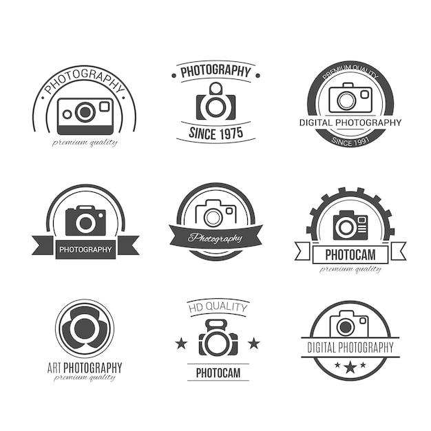 Retro fotografie abzeichen Kostenlosen Vektoren