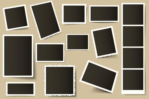 Retro fotorahmen. weinlese-randschablone, alte fotos und papierfotorahmen mit realistischen schatten gesetzt. dekorativer foto-schnappschuss 3d und quadratischer schnappschuss. rahmensammlung Premium Vektoren