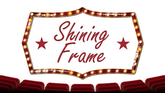 Retro frame glühbirnen Premium Vektoren