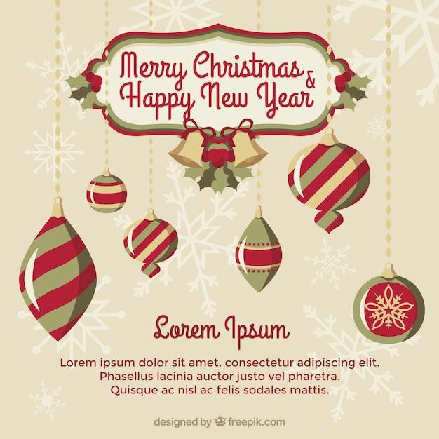 retro frohe weihnachten und neujahr hintergrund mit dekorativen kugeln download der