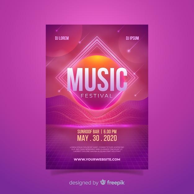 Retro futuristische musik plakat vorlage Kostenlosen Vektoren
