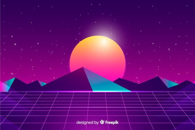 Retro- futuristischer sciencefictionlandschaftshintergrund, purpurrote farbe Kostenlosen Vektoren