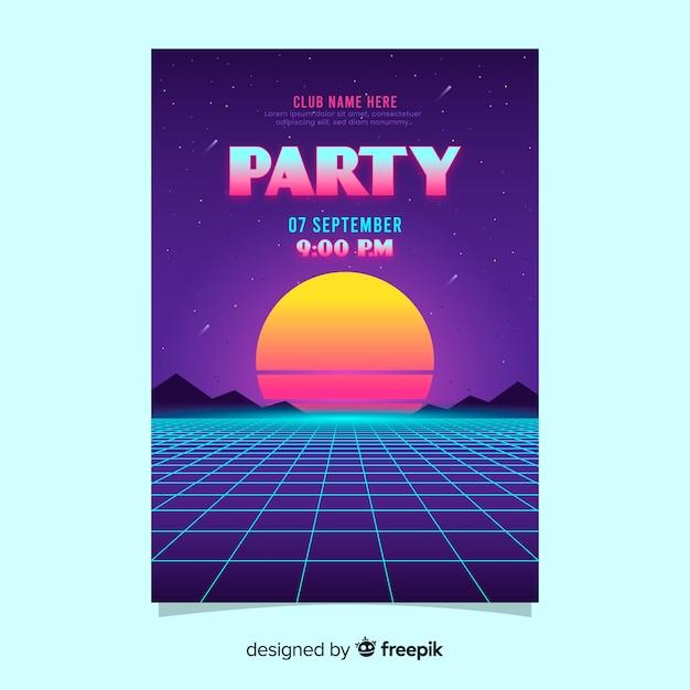 Retro futuristisches musikplakat mit sonnenuntergang Kostenlosen Vektoren