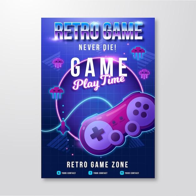 Retro gaming poster vorlage Kostenlosen Vektoren