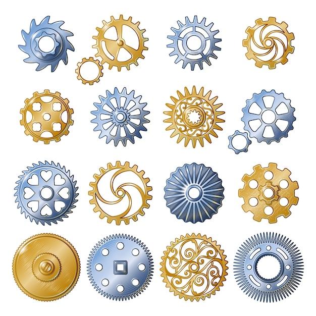Retro gear elements set Kostenlosen Vektoren