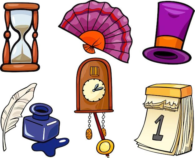 Retro- Gegenstandkarikatur-Illustrationssatz   Download der Premium ...