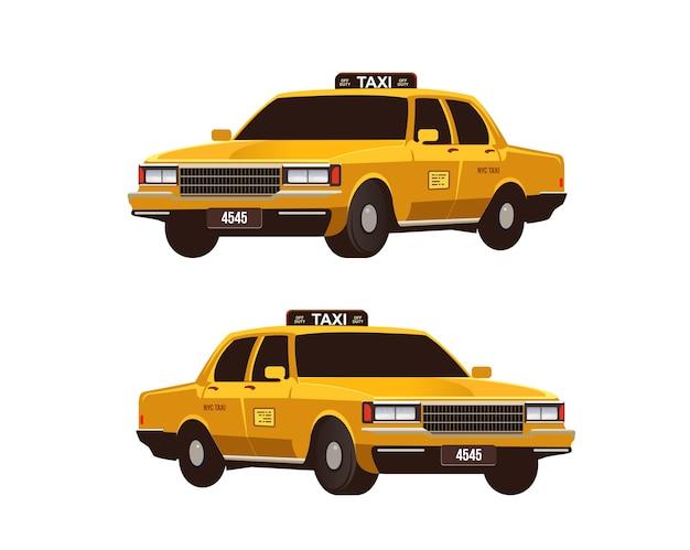 Retro- gelbe taxis eingestellt Premium Vektoren