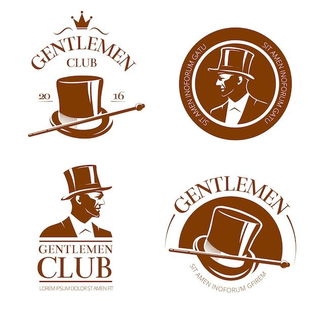 Retro gentlemen club embleme, etiketten, abzeichen Kostenlosen Vektoren
