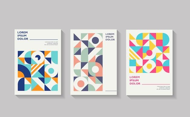 Retro geometrischer cover flyer jahresbericht Premium Vektoren