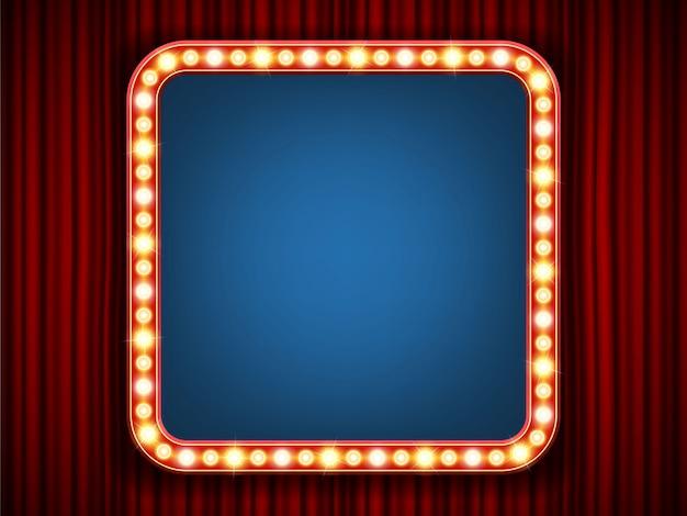 Retro glühbirne rahmen Premium Vektoren