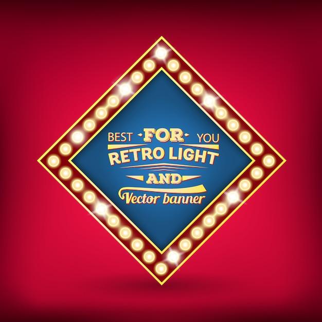Retro- glühlampevektorsprache-blasenfahne. Premium Vektoren