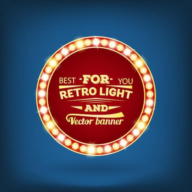 Retro glühlampevektorspracheblasenfahne. Premium Vektoren