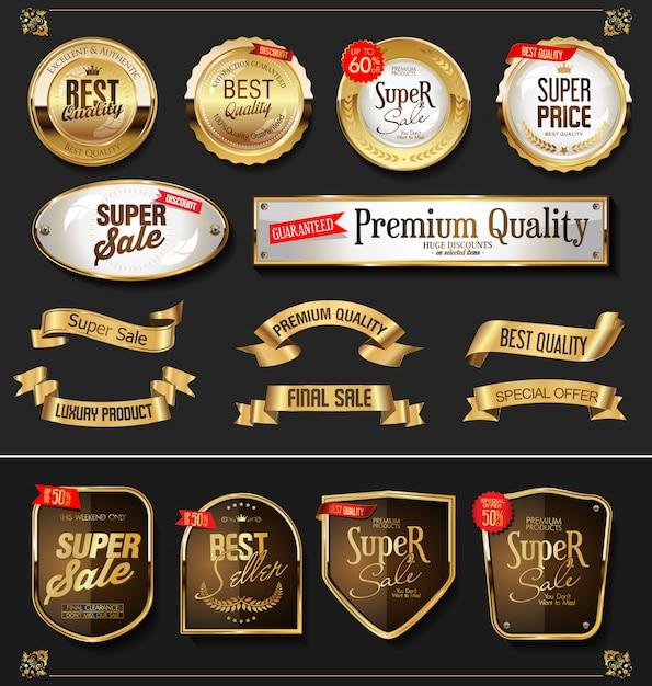 Retro goldene aufkleber und ausweisvektorsammlung Premium Vektoren