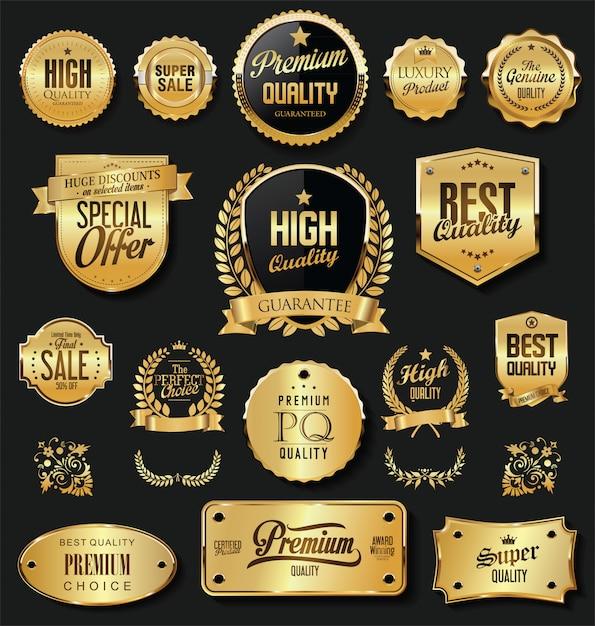 Retro- goldene ausweise des superverkaufs und aufklebervektorsammlung Premium Vektoren