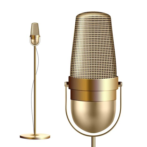 Retro goldenes mikrofon mit standplatz Premium Vektoren