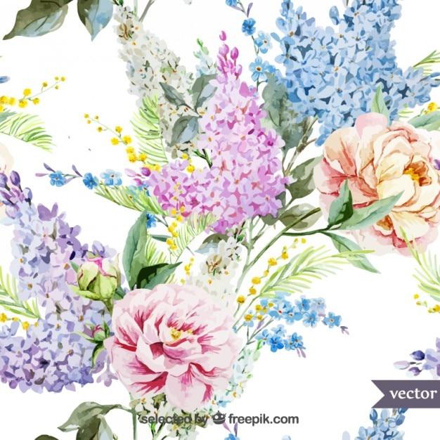 Retro handgemalten Blumen Kostenlose Vektoren