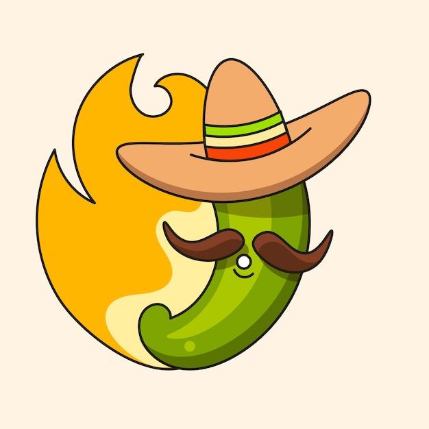 Retro heißer mexikanischer grüner paprikapfeffer mit mexikanischem hut und dem schnurrbart Premium Vektoren