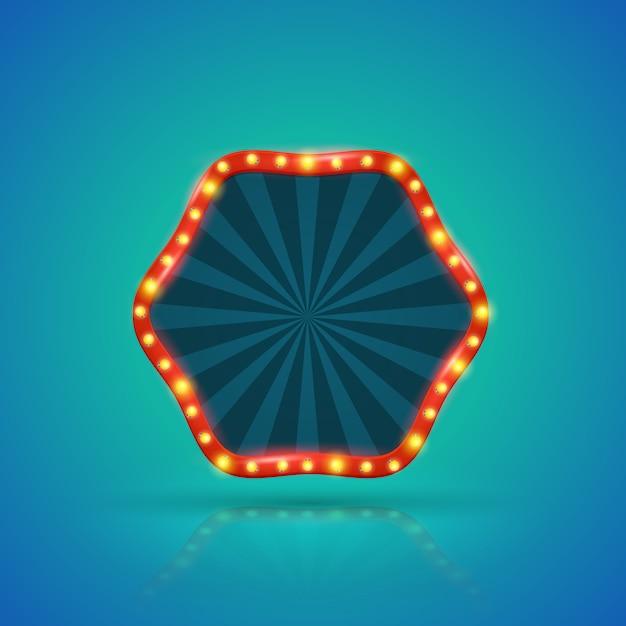 Retro- helle fahne der hexagone mit glühlampen auf der kontur Premium Vektoren