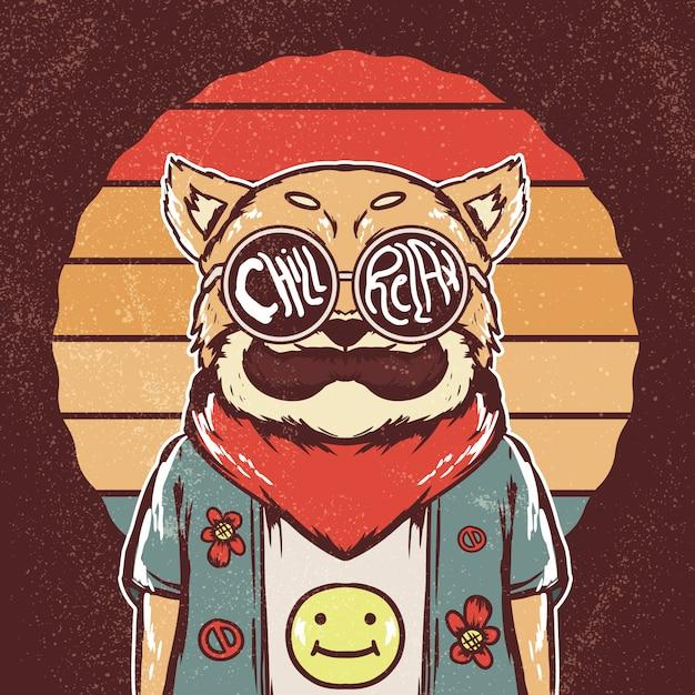 Retro hippie shiba inu hund illustration Premium Vektoren