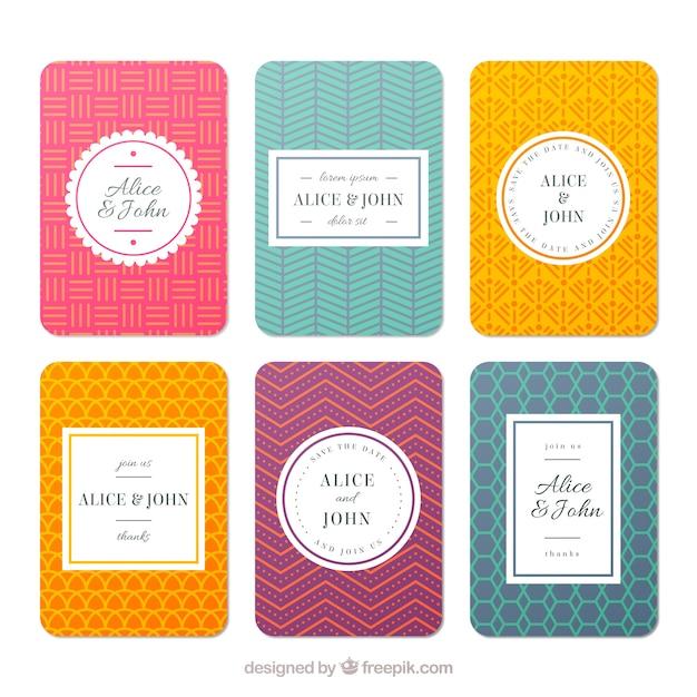 Retro Hochzeitskarten Sammlung Download Der Kostenlosen Vektor