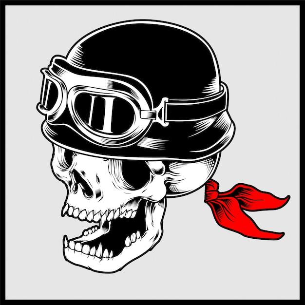 Retro illustration des radfahrerschädelkopfes, der weinlesemotorradsturzhelm trägt Premium Vektoren