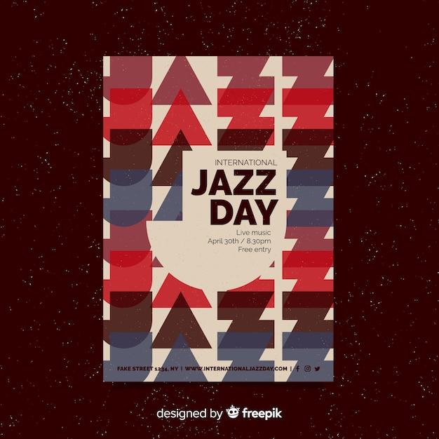 Retro jazzflieger / -plakat des internationalen jazztages Kostenlosen Vektoren