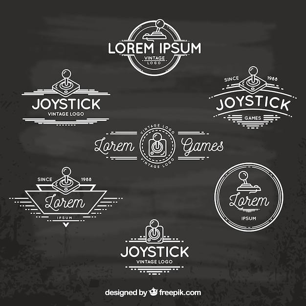 Retro joystick-logo-kollektion mit eleganter stil Kostenlosen Vektoren